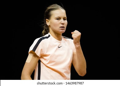 STUTTGART, GERMANY - APRIL 26, 2018: Veronika Kudermetova of Russia at the 2018 Porsche Tennis Grand Prix Premier Tennis Tournament