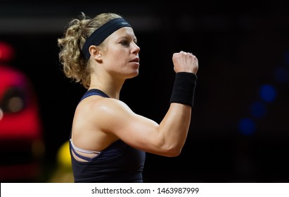 STUTTGART, GERMANY - APRIL 26, 2018: Laura Siegemund of Germany at the 2018 Porsche Tennis Grand Prix Premier Tennis Tournament