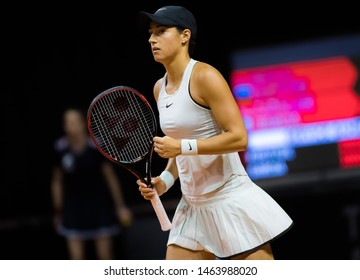 STUTTGART, GERMANY - APRIL 26, 2018: Caroline Garcia of France at the 2018 Porsche Tennis Grand Prix Premier Tennis Tournament