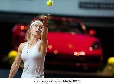 STUTTGART, GERMANY - APRIL 26, 2018: Elina Svitolina of the Ukraine at the 2018 Porsche Tennis Grand Prix Premier Tennis Tournament