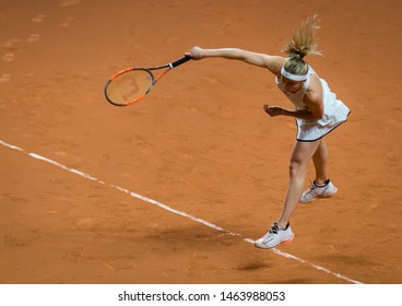 STUTTGART, GERMANY - APRIL 27, 2018: Elina Svitolina of the Ukraine at the 2018 Porsche Tennis Grand Prix Premier Tennis Tournament