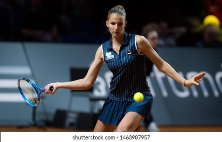STUTTGART, GERMANY - APRIL 28, 2018: Karolina Pliskova of the Czech Republic at the 2018 Porsche Tennis Grand Prix Premier Tennis Tournament