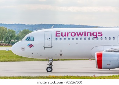 Stuttgart, Germany - April 29, 2017: Cockpit detail view of Airbus airplane A320 from Eurowings Airline at ground (airport Stuttgart) before takeoff