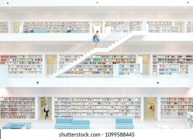 Stuttgart, Germany - April 5, 2018: Interior of the new public library in Stuttgart city, designed by Yi Architects and opened in October 2011