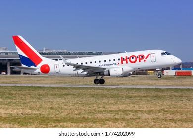 Stuttgart, Germany - April 6, 2018: Hop Air France Embraer 170 airplane at Stuttgart airport (STR) in Germany. Embraer is an aircraft manufacturer based in Brazil.