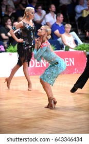 Stuttgart, Germany - August 14, 2015: An unidentified latin female dancer in a dance pose during Grand Slam Latin at German Open Championship, on August 14, in Stuttgart, Germany