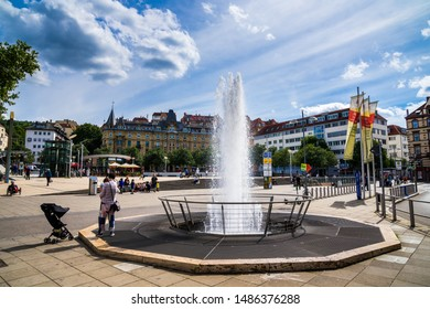 Stuttgart, Germany, August 16, 2019, Squirting waterspout fountain at marienplatz square in inner city of stuttgart, a popular meeting place for people in summer