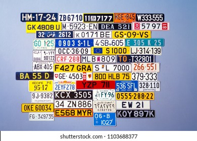 Stuttgart, Germany, Baden Württemberg, 06-02-2018,Collection of international license plates