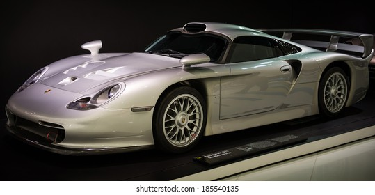 STUTTGART, GERMANY - CIRCA APRIL, 2014: Porsche Museum. PORSHE 911 GT1 street version (1997)
