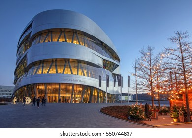 STUTTGART, GERMANY - DEC 27: Twilight scene with the Mercedes-Benz Museum in Stuttgart, Germany on December 27th, 2016. Built in 2006 is one of the most popular attractions of the region.