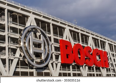 STUTTGART, GERMANY - DECEMBER 24, 2015: Dark clouds over the Bosch Parking Garage at Stuttgart Airport