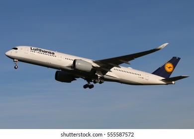 Stuttgart, Germany -?? December 27, 2016: Lufthansa, Airbus A350-900 is taking off at Stuttgart Airport