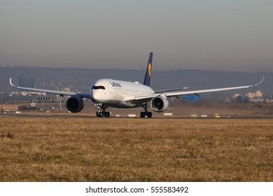 Stuttgart, Germany -?? December 31, 2016: Lufthansa, Airbus A350 is taking off at Stuttgart Airport