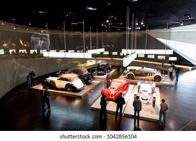 Stuttgart,  Germany - February 03,  2018, The Mercedes Benz Museum - arrabgement of different mercedes benz cars in the museum hall