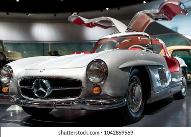 Stuttgart,  Germany - February 03,  2018, The Mercedes Benz Museum - The Mercedes Benz 300 SL