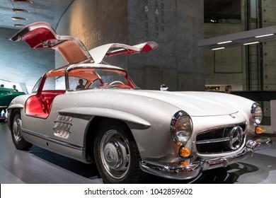 Stuttgart,  Germany - February 03,  2018, The Mercedes Benz Museum - The Mercedes Benz 300 SL