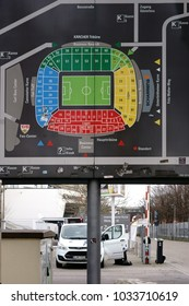 STUTTGART, GERMANY - FEBRUARY 03: The stadium plan of the Mercedes-Benz Arena with grandstands and seating tiers on a sign outside the stadium on February 03, 2018 in Stuttgart.
