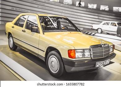 Stuttgart, Germany - February 06, 2020: Mercedes-Benz Museum - Mercedes-Benz 190 E