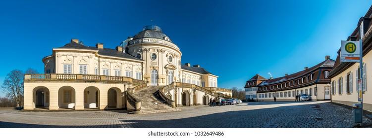 STUTTGART / GERMANY - FEBRUARY 19 2018 : Castle Solitude has been build by Philippe de La Guêpière beginning in the year 1752