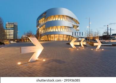 STUTTGART, GERMANY - February 20, 2014: Spectactular modern architectur and home of  Museum Mercedes-Benz Welt in Stuttgart, shot at  HDR Golden Hour.