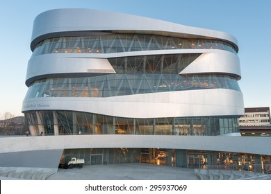 STUTTGART, GERMANY - February 20, 2014: Spectacular modern architecture and home of  Museum Mercedes-Benz Welt in Stuttgart, shot at  HDR Golden Hour.