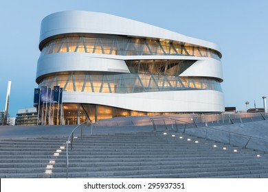 STUTTGART, GERMANY - February 20, 2014: Spectacular modern architecture and home of  Museum Mercedes-Benz Welt in Stuttgart, shot at  HDR Golden Hour.