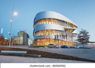 STUTTGART, GERMANY - February 20, 2014: Spectacular modern architetcur and home of  Museum Mercedes-Benz Welt in Stuttgart, shot at  HDR Golden Hour.
