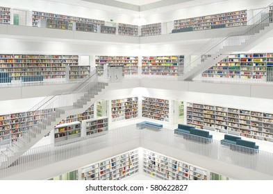 Stuttgart, Germany - February 28, 2016: Stuttgart Library (Stadtbiliothek Stuttgart) in Germany, was opened in October 2011 and was designed by Yi Architects.