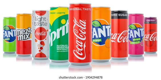Stuttgart, Germany - January 11, 2021: Coca Cola Coca-Cola Fanta Sprite products lemonade soft drinks in cans isolated on a white background in Stuttgart in Germany.