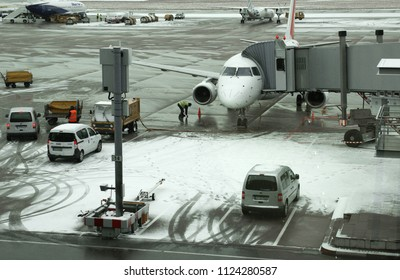 STUTTGART, GERMANY - January 15 2016: Bad weather of Stuttgart Airport (STR) in Stuttgart, Germany. Stuttgart is the sixth busiest airport in Germany with 9.6 million passengers in 2013.