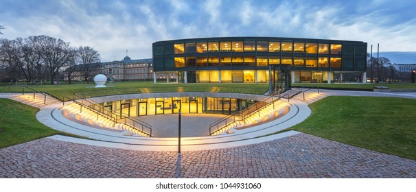Stuttgart, Germany - January 15, 2018: View of the Stuttgart Parliament at Dusk