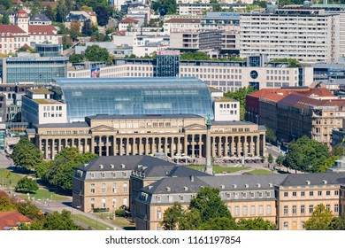 STUTTGART, GERMANY - July 10, 2018: View over Stuttgart Castle place from above