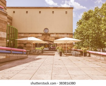 STUTTGART, GERMANY - JULY 11, 2012: The Neue Staatsgalerie art gallery is a masterpiece of postmodern architecture designed by British architect Sir James Stirling in 1977 vintage