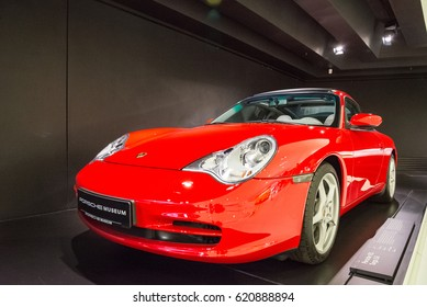 "STUTTGART, GERMANY - JULY 16, 2015: Interior and exhibits of ""Porsche Museum"" (Poesche 911 Targa 3.6)"