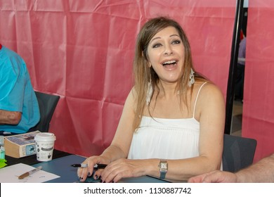 STUTTGART, GERMANY - JUN 30th 2018: Marina Sirtis (Counselor Deanna Troi in Star Trek: The Next Generation) is happy to meet fans at Comic Con Germany Stuttgart, a two day fan convention