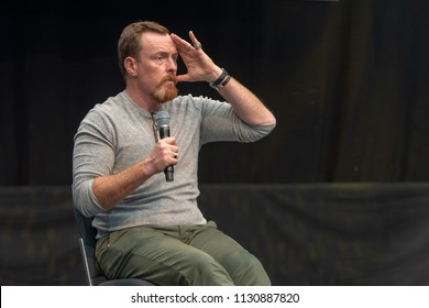 STUTTGART, GERMANY - JUN 30th 2018: Toby Stephens (Black Sails, Lost in Space) at Comic Con Germany Stuttgart, a two day fan convention