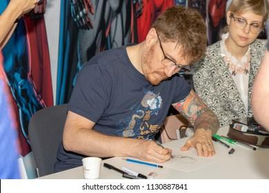 STUTTGART, GERMANY - JUN 30th 2018: Matteo Lolli (Italian Comic Artist - Deadpool) at Comic Con Germany Stuttgart, a two day fan convention