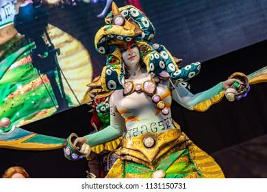 STUTTGART, GERMANY - JUN 30th 2018: Cosplay Contest - Naga Siren, DOTA 2 - at Comic Con Germany Stuttgart