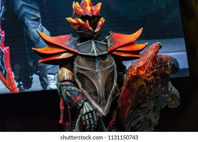 STUTTGART, GERMANY - JUN 30th 2018: Cosplay Contest - Dragon Knight, DOTA 2 - at Comic Con Germany Stuttgart