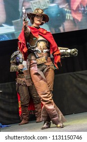 STUTTGART, GERMANY - JUN 30th 2018: Cosplay Contest - Jesse McCree from Overwatch by cosplayer Miss Weasleby -  at Comic Con Germany Stuttgart, a two day fan convention