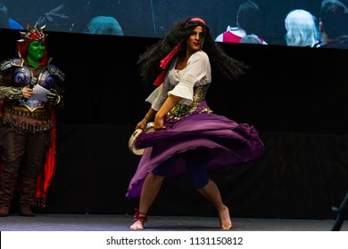 STUTTGART, GERMANY - JUN 30th 2018: Cosplay Contest - Esmeralda from The Hunchback of Notre Dame by cosplayer Mylady Gypsy - at Comic Con Germany Stuttgart