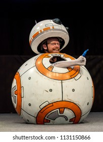 STUTTGART, GERMANY - JUN 30th 2018: Cosplay Contest - BB8 Cosplay by Pisdi Productions - at Comic Con Germany Stuttgart. Editorial use only.