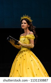 STUTTGART, GERMANY - JUN 30th 2018: Cosplay Contest - Belle from Beauty and the Beast by cosplayer Queen Arkham - at Comic Con Germany Stuttgart