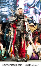 STUTTGART, GERMANY - JUN 30th 2018: Cosplay Contest - Adeptus Sororitas from Warhammer 40K by cosplayer IN.SAIN.I - at Comic Con Germany Stuttgart