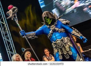 STUTTGART, GERMANY - JUN 30th 2018: Cosplay Contest - Skeletor from HE-MAN by Thomas Aiken - at Comic Con Germany Stuttgart