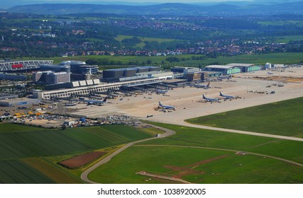 Stuttgart, Germany - June 11, 2017: Aerial view of Stuttgart area and an airport on a sunny day