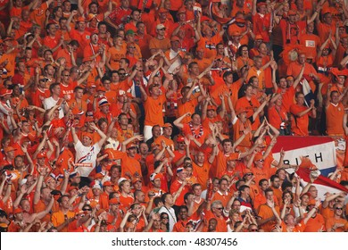 STUTTGART, GERMANY - JUNE 16:  Holland supporters cheer prior to the start of a 2006 FIFA World Cup soccer match between the Netherlands and Cote d'Ivoire June 16, 2006 in Stuttgart, Germany.
