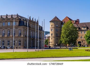 Stuttgart, Germany - June 2, 2020 - Old Castle (altes Schloss) on Schlossplatz (castle square) next to New Castle (Neues Schloss)