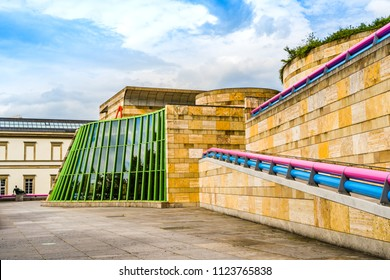 Stuttgart, Germany - June 21, 2018: The New State Gallery (Staatsgalerie), an art museum opened in 1843 and rebuilt by 1948 based on an architectural design by James Stirling, after World War 2 damage