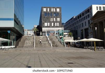 STUTTGART, GERMANY - June 24, 2016: Schlossplatz is the largest square in the center of Stuttgart, GERMANY